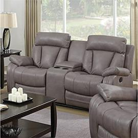 Chintaly Imports Bonded Leather Reclining Loveseat, Gray