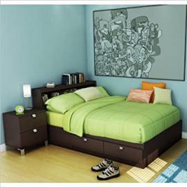 Kids Full Wood Storage Bed 3 Piece Bedroom Set in Chocolate