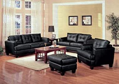 Black Classic Leather Loveseat