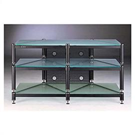 BLG Series TV Stand in Black w Frosted Glass Shelves