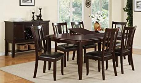Furniture2go F2179+F1285(6) Abella Deep Brown Finish Dining Table + 6 Chairs, Rubber wood , Assembly Required