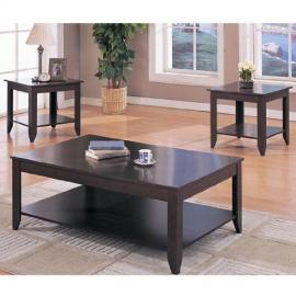 3pc Contemporary Occassional Table Set in Cappuccino Finish: Set Includes: Coffee Table and 2 End Tables