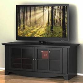"""Pinnacle TV Stand, for TVs up to 60"""" Rich Textured Black Lacquer Finish, European Cam-Lock System"""
