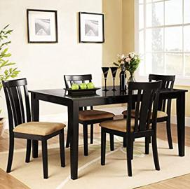 Tribecca Home Wilma Black Slat Back Cushioned 5-piece Set Traditional Wood Dining Table and Chairs Kitchen Furniture