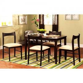 Frasier Dining Table Set for 4, Made of Rubberwood with a Rich Espresso Finish