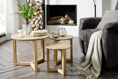 Faye- circle oak coffee table
