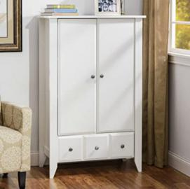 Armoire Country Cottage Wardrobe Furniture - Add Subtle Storage to Your Bedroom or Living Room - Neutral Finishes Fit in Seamlessly with Existing Décor - Satisfaction Guaranteed! (Soft White)