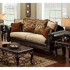 Trixie Fabric & Faux Leather Sofa by Chelsea Home