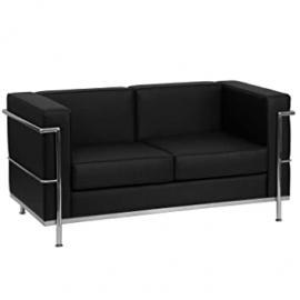 Flash Furniture HERCULES Regal Series Contemporary Black Leather Love Seat with Encasing Frame [ZB-REGAL-810-2-LS-BK-GG]