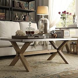 INSPIRE Q Aberdeen Industrial Zinc Top Weathered Oak Trestle Rectangular Coffee Table