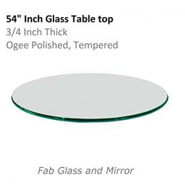 Glass Table Top: 54 Inch Round 3/4 Inch Thick Ogee Tempered