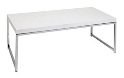 Wall Street Coffee Table - White Chrome End Cocktail Console Sofa Living Room Cheap Modern Tables Sale!