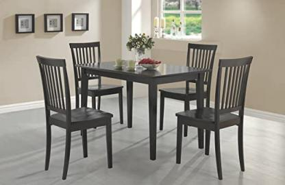 5 pc Oakdale collection espresso finish wood dining table set with wood seats