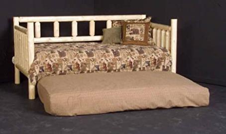 Rustic Log Day Bed w Trundle (Honey Pine)