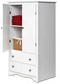 2-Door Armoire in White Finish