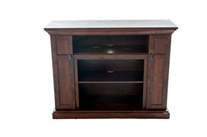 Home Source Industries TV12362 Tao Hardwood TV Stand with Shelves and Cabinets for Components, Walnut Finish