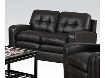 Burnis Top Grain Leather Match Loveseat in Two Tone Dark Brown Finish by Acme Furniture