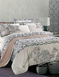 SYX Luxury 100% Cotton Emboridery King Queen Size 4pcs Bedding Set , queen-black+white , queen-black+white