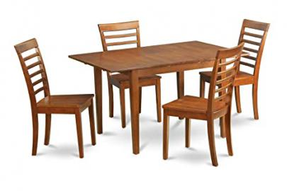 East West Furniture MILA5-SBR-W 5-Piece Dinette Table Set