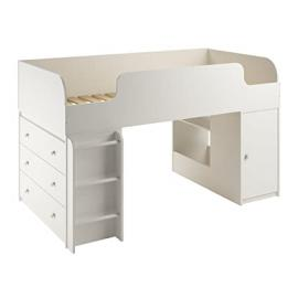 Cosco Products Elements Loft Bed with Dresser and Toy Box Bookcase, White Stipple