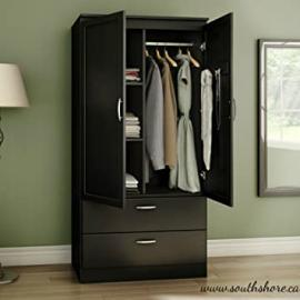 Contemporary Wardrobe Armoire Wood - With Framed Doors and Streamlined Drawers - Features Three Storage Spaces, Two Adjustable Shelves - Nickel Finish Metal Handles (Black)