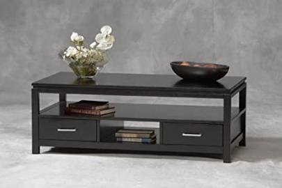 Sutton Coffee Table Shelves Storage - Tables Sofa Console End Set Living Room Office Wood Black - Sale!