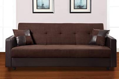 Adjustable Sofa w/ Storage in Chocolate and Espresso by Poundex