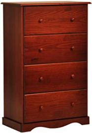 "100% Solid Wood 4-Super Jumbo Drawer Chest by Palace Imports, Mahogany Color, 32""W x 48.5""H x 17""D. Metal Antique Brass Knobs Sold Separately. Requires Assembly"
