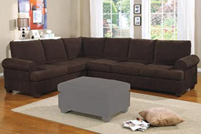2pc Sectional Sofa with Reversible Loveseat Wedge in Chocolate Corduroy