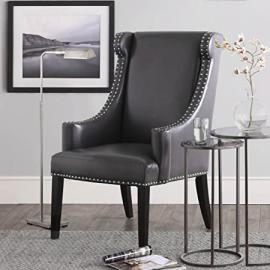 Metro Shop Stansbury Grey Bonded Leather Wing Chair-.