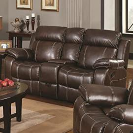 Double Gliding Loveseat w/ Cup Holders by Coaster