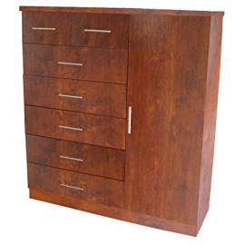 Home Source TIFFANY CLOTHING WAL Center Small Wardrobe with 7-Drawers and Hanging Area, 51 by 17 by 47-Inch, Walnut