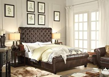 Millbury HOME Calia Espresso Tufted Leather Upholstery Platform Bed (Queen Size)