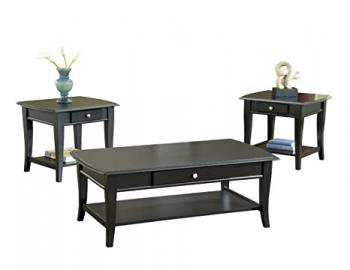 Bernards Broadway Coffee Table Set, Black, 3-Pack