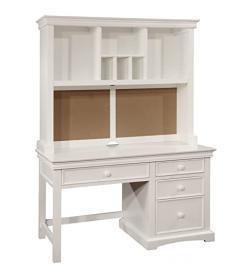 Bolton Furniture 865055500 Cambridge Pedestal Desk with Hutch Set, White