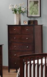Contemporary Style Cappuccino Finish Bedroom Drawer Chest