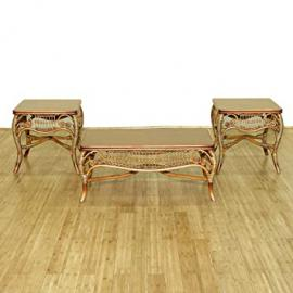 3 Pc Rattan Elizabethan Coffee Table Set