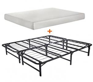 "Merax Bed Combination of Bed Mattress (Queen) and Metal Folding Bed Frame(Queen) (8"" memory foam)"