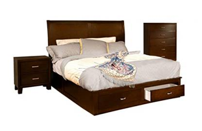 Furniture of America Varielle Modern 3-Piece Storage Platform Bedroom Set with Nightstand and Chest, California King, Brown Cherry Finish