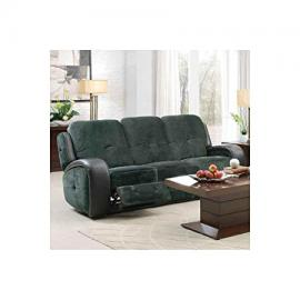 Homelegance Flatbush Double Reclining Sofa In Plush Microfiber & Black Vinyl