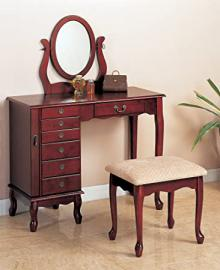 Traditional Vanity and Stool with Fabric Seat with Oval Mirror