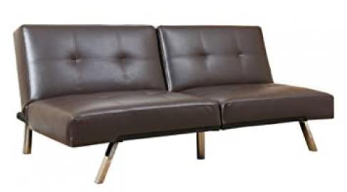 Abbyson Living Aspen Bonded Leather Convertible Sofa, Dark Brown