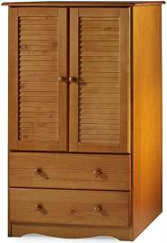 "100% Solid Wood Petite Armoire/Wardrobe/Closet by Palace Imports, Honey Pine Color, 32""W x 53""H x 21""D, 1 Clothing Rod, 2 Drawers Included. Additional Shelf Sold Separately. Requires Assembly"