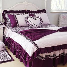 DIAIDI Home Textile,Purple Leopard Bedding Set,Princess Ruffle Bedding Set,Twin/Queen/King Bedroom Set,6Pcs Bed Sets (6.6ft bed)