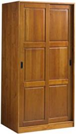 100% Solid Wood 2-Sliding Door Wardrobe/Armoire/Closet by Palace Imports, Honey Pine Color, 1 Full Shelf, 1 Clothing Rod Included. Additional Full Shelves Sold Separately. Requires Assembly