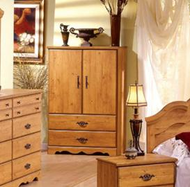 Wardrobe Armoire Country Style Wooden Pine Finish Elegant Metal Handles Profiled Top and Drawers