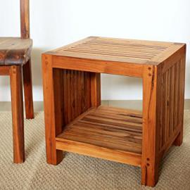 Coffee Table w Shelf 18Lx16Dx18 inch H Teak Slat in Eco Frndly Livos Oak Oil Fin