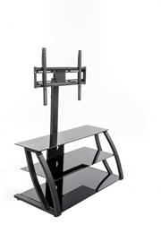 Home Source Industries TV11235 Modern TV Stand with Mount and Shelving for Components, Black
