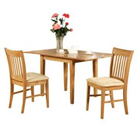 East West Furniture NOFK3-OAK-C 3-Piece Kitchen Nook Dining Table Set