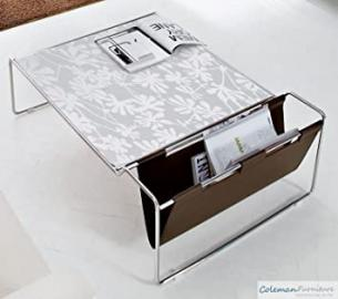Domitalia Bijou Coffee Table in White Glass Pattern